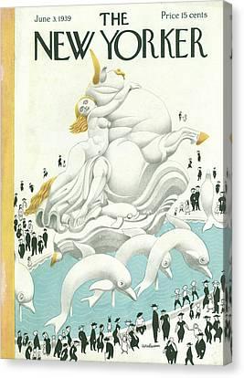 Dolphin Canvas Print - New Yorker June 3rd, 1939 by Christina Malman