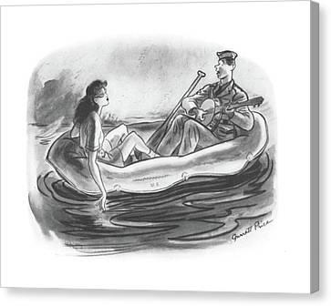 Canoe Canvas Print - New Yorker June 6th, 1942 by Garrett Price