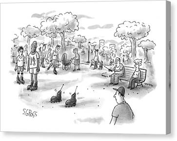 New Yorker June 7th, 1999 Canvas Print by Sam Gross