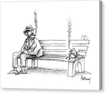 Park Benches Canvas Print - New Yorker June 8th, 1987 by Anthony Taber
