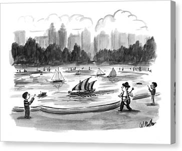 Toy Boat Canvas Print - New Yorker June 8th, 1998 by Warren Miller