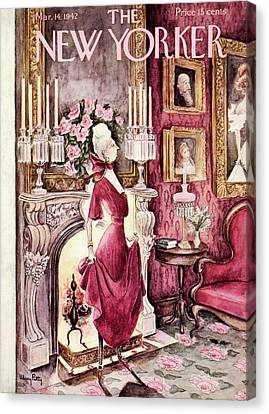 Gown Canvas Print - New Yorker March 14th, 1942 by Mary Petty