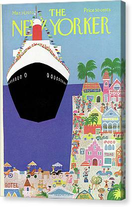 Cruise Ship Canvas Print - New Yorker March 14th, 1970 by Charles E. Martin