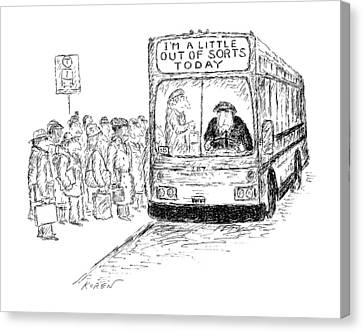 Driver Canvas Print - New Yorker March 16th, 1987 by Edward Koren