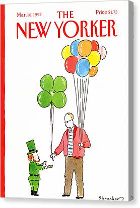 Clover Canvas Print - New Yorker March 16th, 1992 by Danny Shanahan