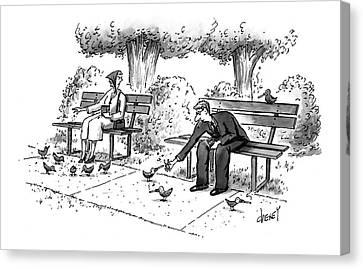 Feeding Birds Canvas Print - New Yorker March 17th, 1997 by Tom Cheney