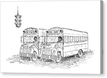 School Bus Canvas Print - New Yorker March 21st, 1970 by Edward Koren