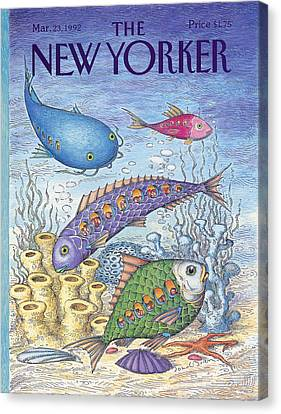 Under The Sea Canvas Print - New Yorker March 23rd, 1992 by John O'Brien