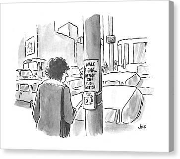 Crosswalk Canvas Print - New Yorker March 25th, 1996 by John Jonik