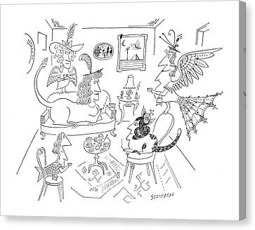 Ceramics Canvas Print - New Yorker March 28th, 1964 by Saul Steinberg