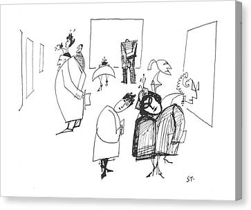 Toon Canvas Print - New Yorker March 8th, 1958 by Saul Steinberg