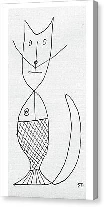 New Yorker March 9th, 1957 Canvas Print by Saul Steinberg