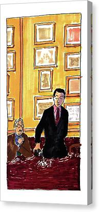 Pouring Wine Canvas Print - New Yorker May 16th, 1994 by Michael Crawford