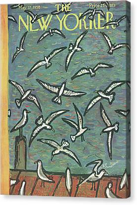 Flying Gull Canvas Print - New Yorker May 17th, 1958 by Abe Birnbaum