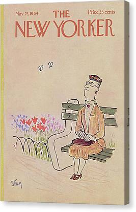 Park Benches Canvas Print - New Yorker May 23rd, 1964 by William Steig