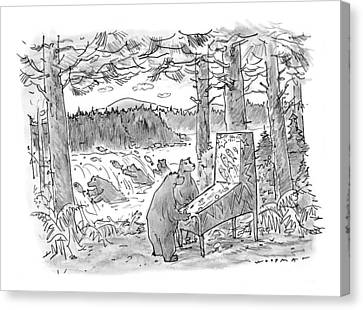 Two Fish Canvas Print - New Yorker May 25th, 1998 by Bill Woodman