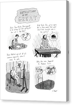 Beach Scenes Canvas Print - New Yorker November 10th, 1986 by Roz Chast