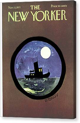 Sea Moon Full Moon Canvas Print - New Yorker November 13th, 1971 by Donald Reilly