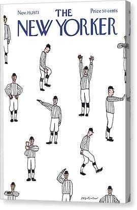 Referee Canvas Print - New Yorker November 19th, 1973 by James Stevenson