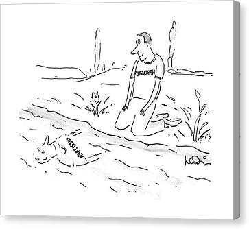 Backward Canvas Print - New Yorker November 21st, 1988 by Arnie Levin