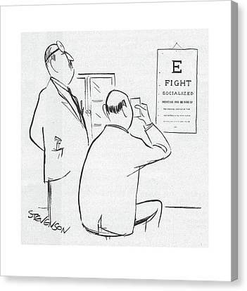 Optometrist Canvas Print - New Yorker November 22nd, 1958 by James Stevenson