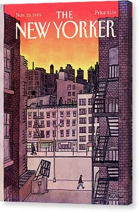 Fire Escape Canvas Print - New Yorker November 25th, 1985 by Roxie Munro