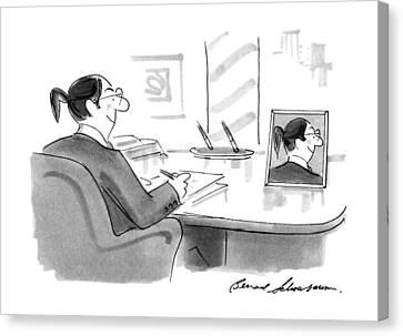 Ponytail Canvas Print - New Yorker November 26th, 1990 by Bernard Schoenbaum