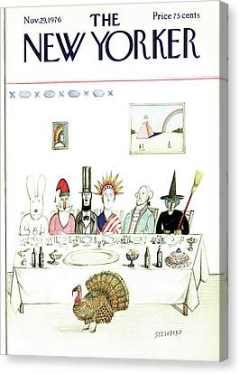 New Yorker November 29th, 1976 Canvas Print by Saul Steinberg