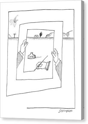 New Yorker November 30th, 1963 Canvas Print by Saul Steinberg