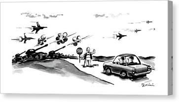 Stop Sign Canvas Print - New Yorker November 9th, 1987 by Eldon Dedini