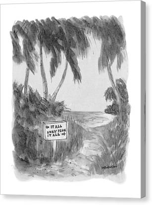 Tropical Beach Canvas Print - New Yorker October 13th, 1975 by James Stevenson