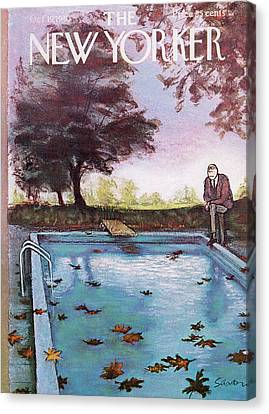 Autumn Leaf Canvas Print - New Yorker October 19th, 1963 by Charles Saxon