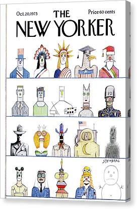 New Yorker October 20th, 1975 Canvas Print by Saul Steinberg