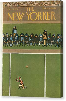 Wide Receiver Canvas Print - New Yorker October 24th, 1970 by Charles E. Martin
