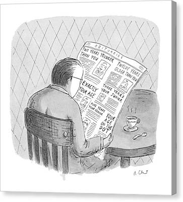 Five Canvas Print - New Yorker October 25th, 1993 by Roz Chast