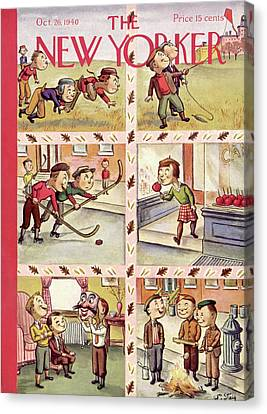 Youth Hockey Canvas Print - New Yorker October 26th, 1940 by William Steig