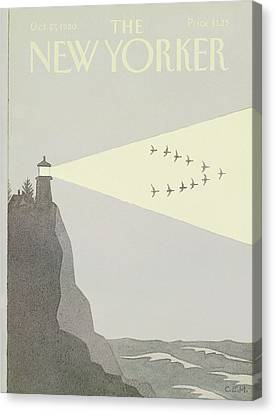 Flock Of Birds Canvas Print - New Yorker October 27th, 1980 by Charles E. Martin