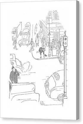 Senior Walk Canvas Print - New Yorker October 3rd, 1942 by George Price