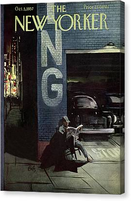 Reading Canvas Print - New Yorker October 5th, 1957 by Arthur Getz