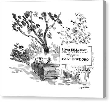 Country Roads Canvas Print - New Yorker October 8th, 1990 by James Stevenson