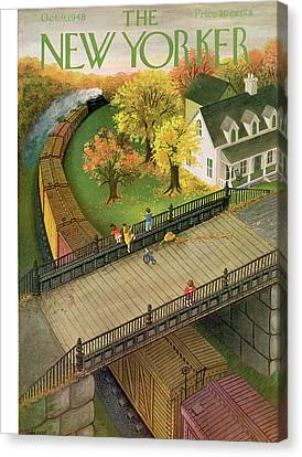 Train Tracks Canvas Print - New Yorker October 9th, 1948 by Edna Eicke