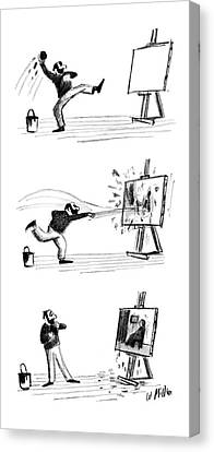 Artist At Easel Canvas Print - New Yorker September 16th, 1961 by Warren Miller