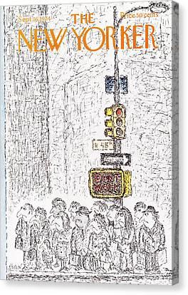 Crosswalk Canvas Print - New Yorker September 16th, 1974 by Edward Koren