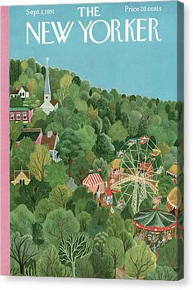 Amusements Canvas Print - New Yorker September 1st, 1951 by Ilonka Karasz