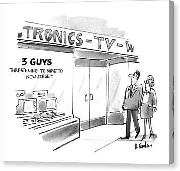 Threatening Canvas Print - New Yorker September 20th, 1993 by Dana Fradon