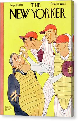 Pitcher Canvas Print - New Yorker September 23rd, 1933 by Abner Dean