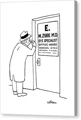 Optometrist Canvas Print - New Yorker September 23rd, 1944 by Sam Cobean