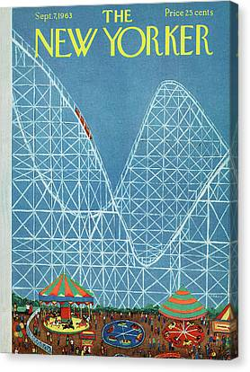 Roller Coaster Canvas Print - New Yorker September 7th, 1963 by Robert Kraus