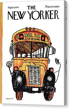 School Bus Canvas Print - New Yorker September 9th, 1974 by James Stevenson