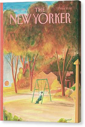 Autumn Leaf Canvas Print - New Yorker September 9th, 1985 by Jean-Jacques Sempe